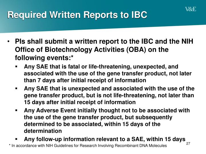 Required Written Reports to IBC