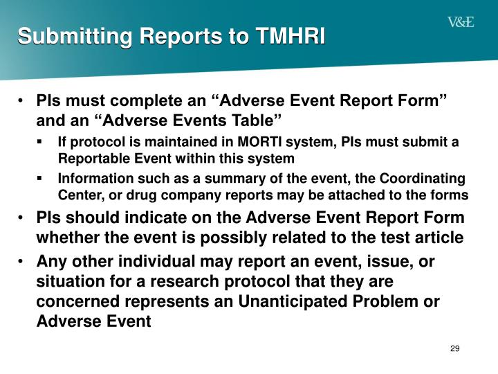 Submitting Reports to TMHRI