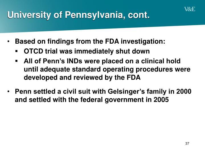 University of Pennsylvania, cont.