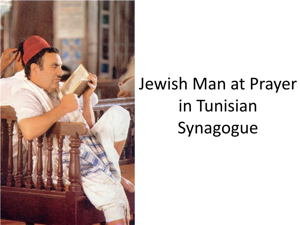 Jewish Man at Prayer in Tunisian Synagogue