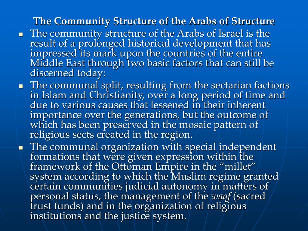 The Community Structure of the Arabs of Structure