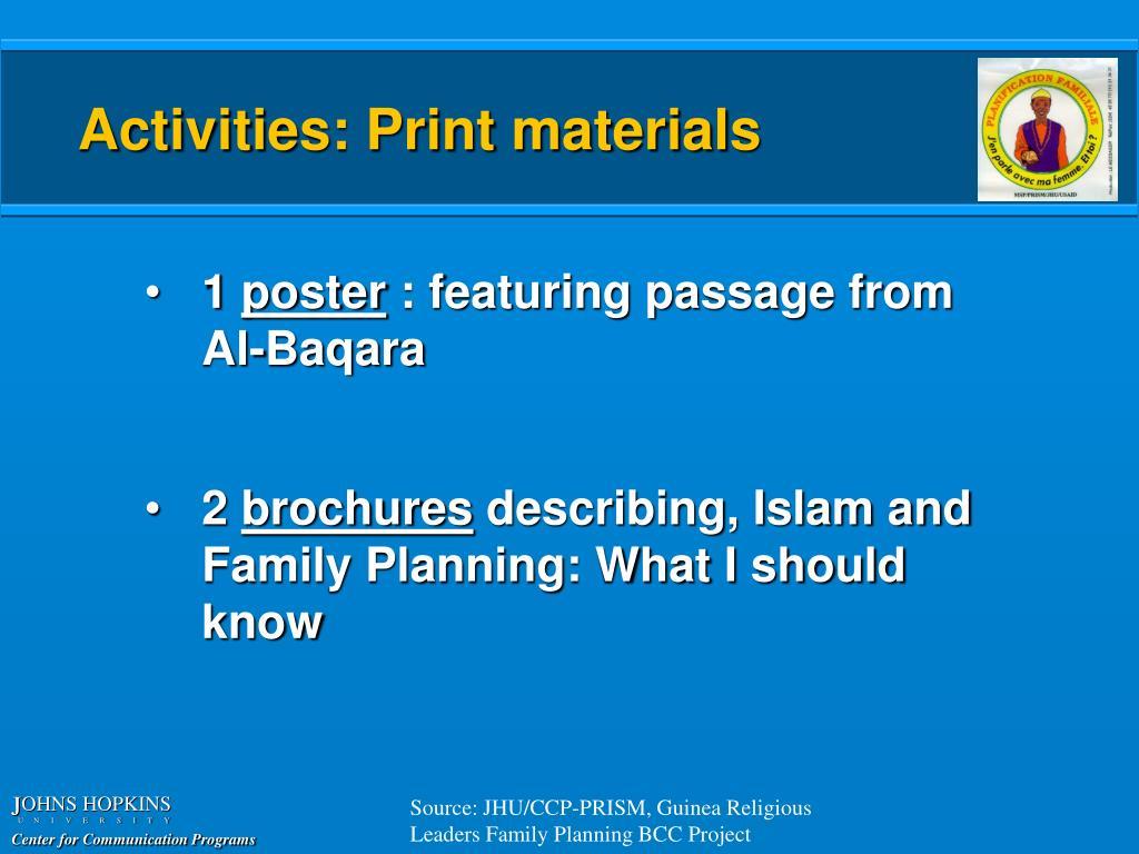 Activities: Print materials