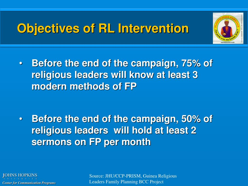 Objectives of RL Intervention