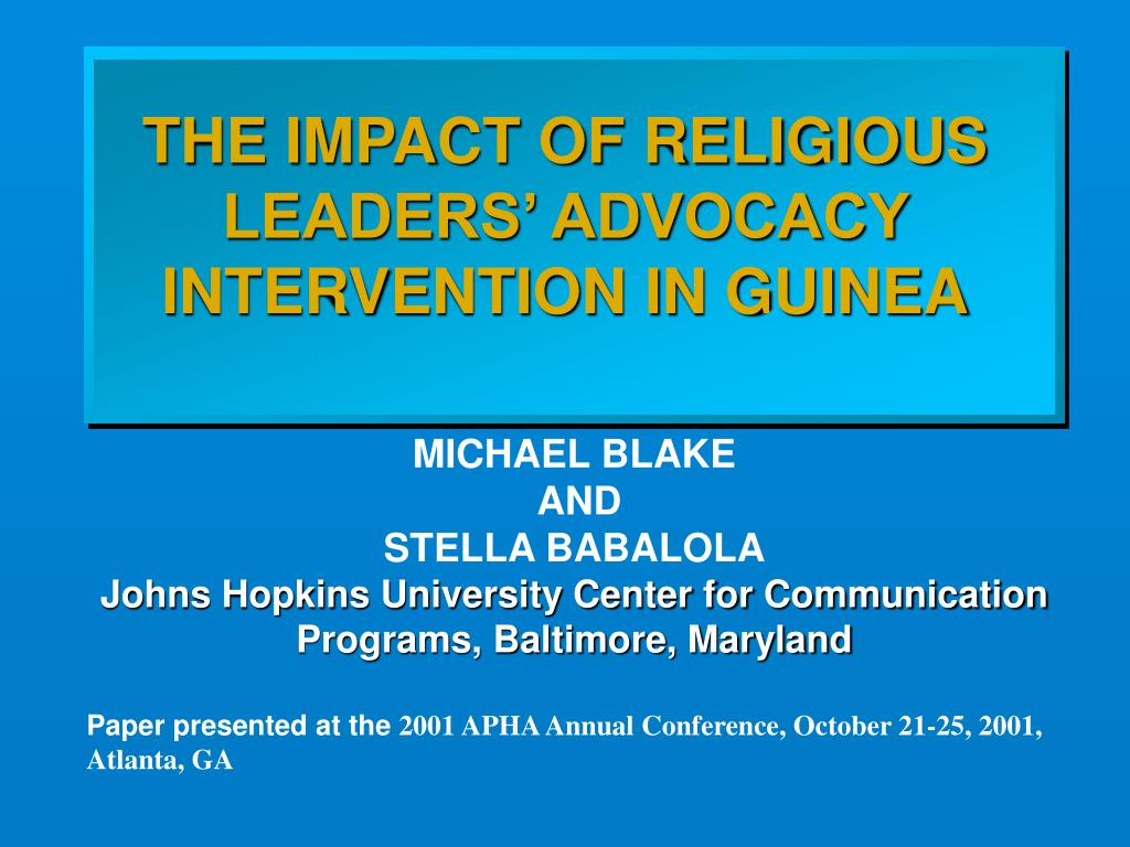 THE IMPACT OF RELIGIOUS LEADERS' ADVOCACY INTERVENTION IN GUINEA