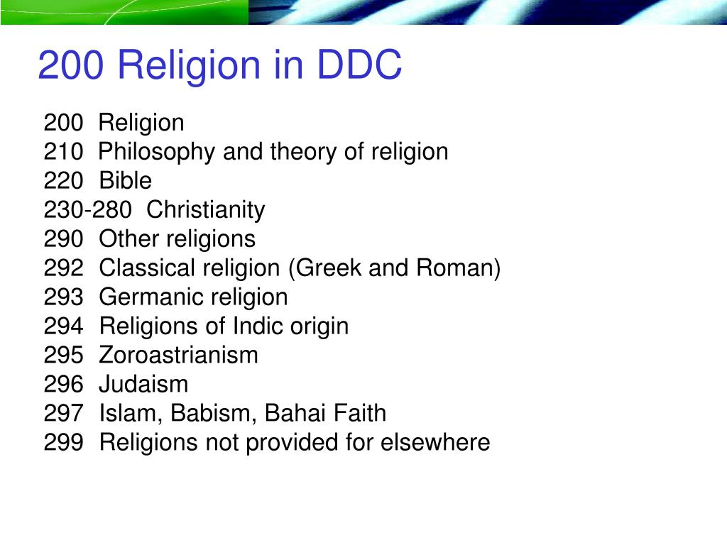 200 Religion in DDC