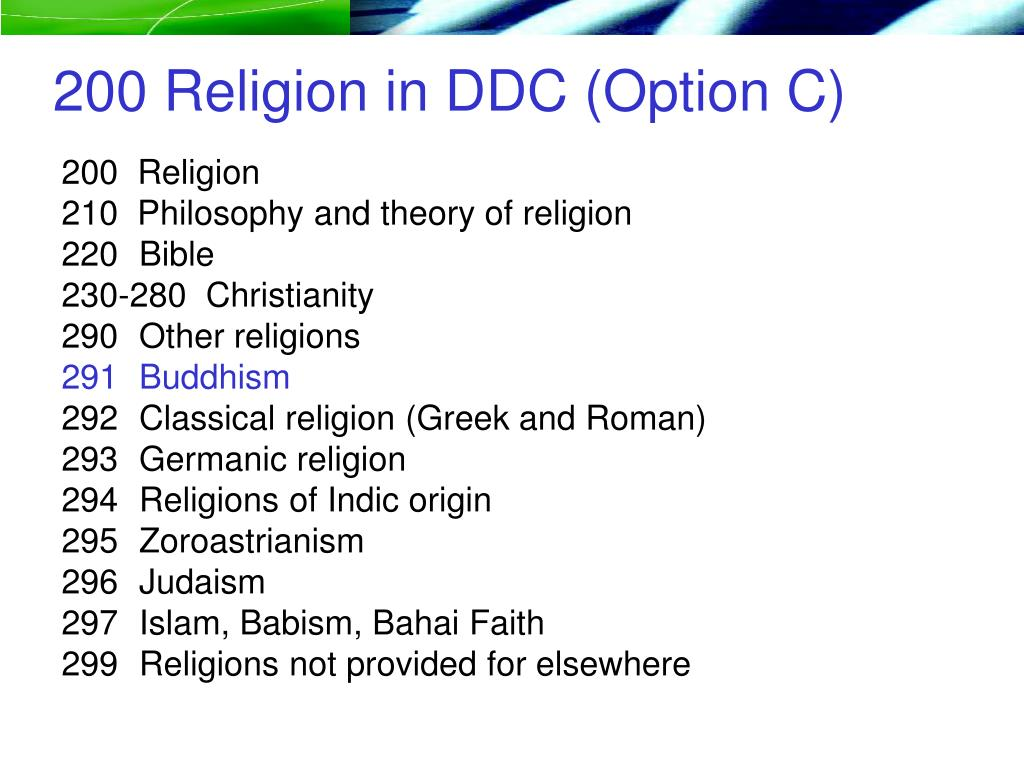 200 Religion in DDC (Option C)