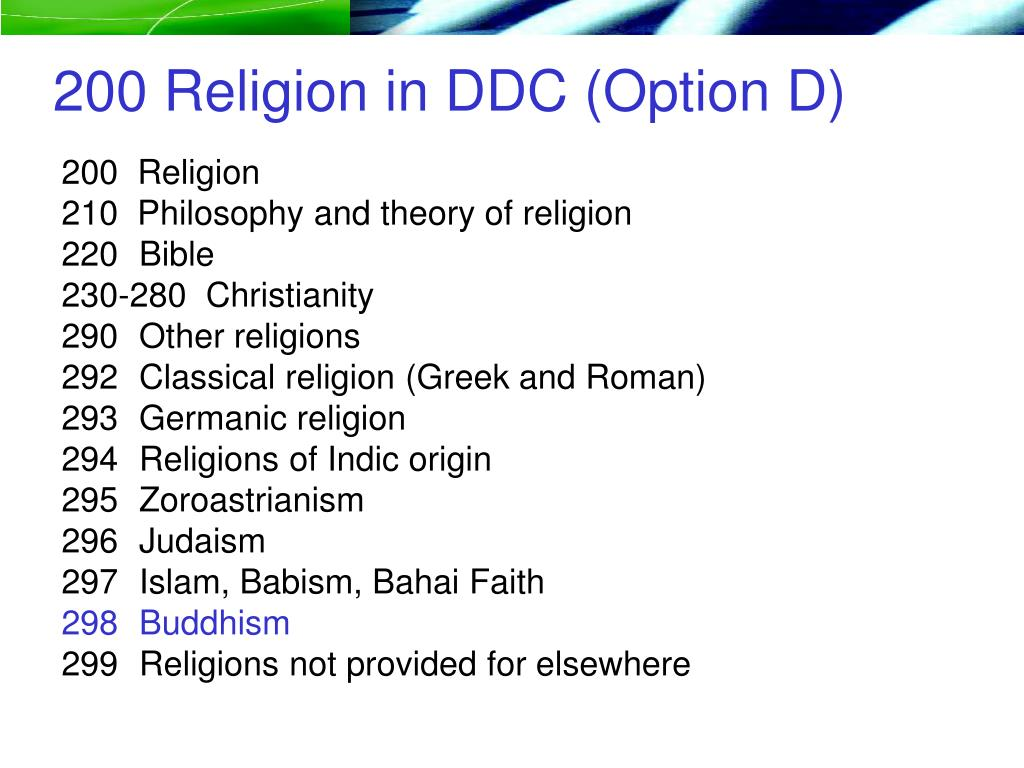 200 Religion in DDC (Option D)