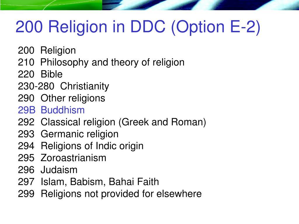 200 Religion in DDC (Option E-2)