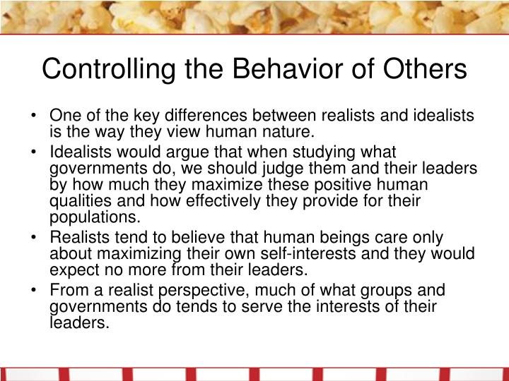 Controlling the behavior of others l.jpg
