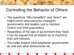 controlling the behavior of others4
