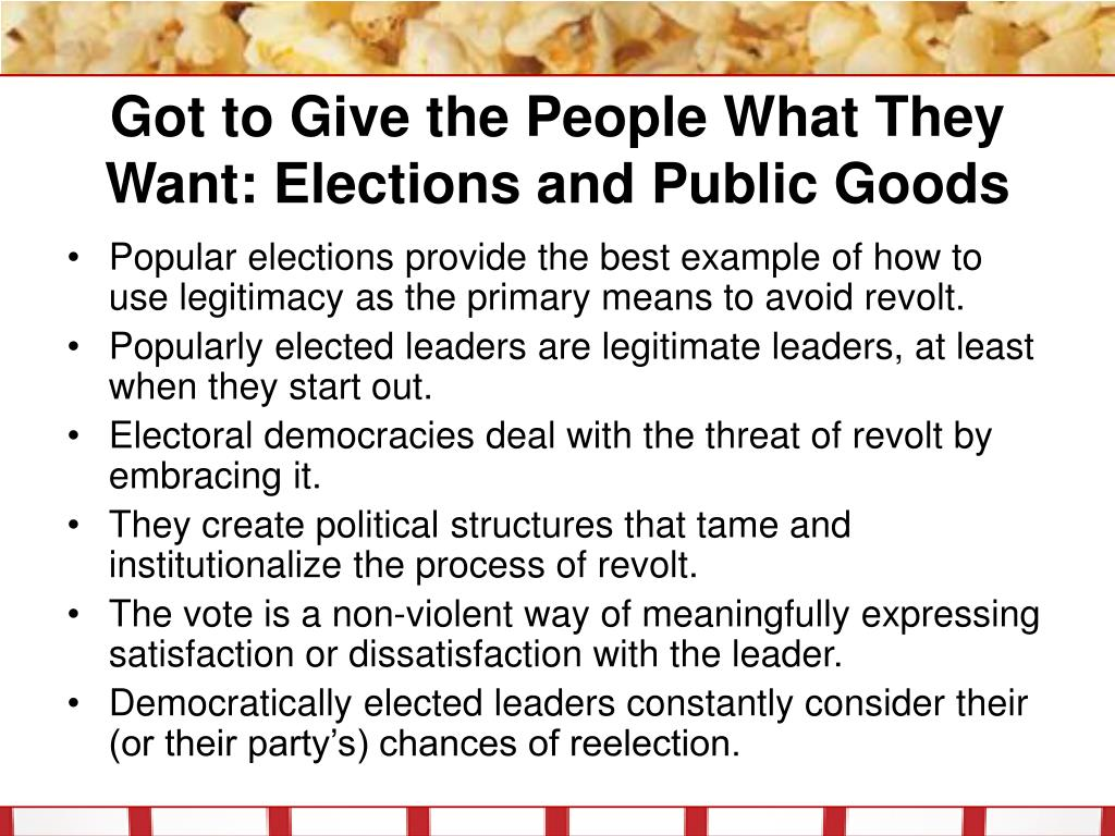 Got to Give the People What They Want: Elections and Public Goods