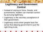 legitimacy and government control