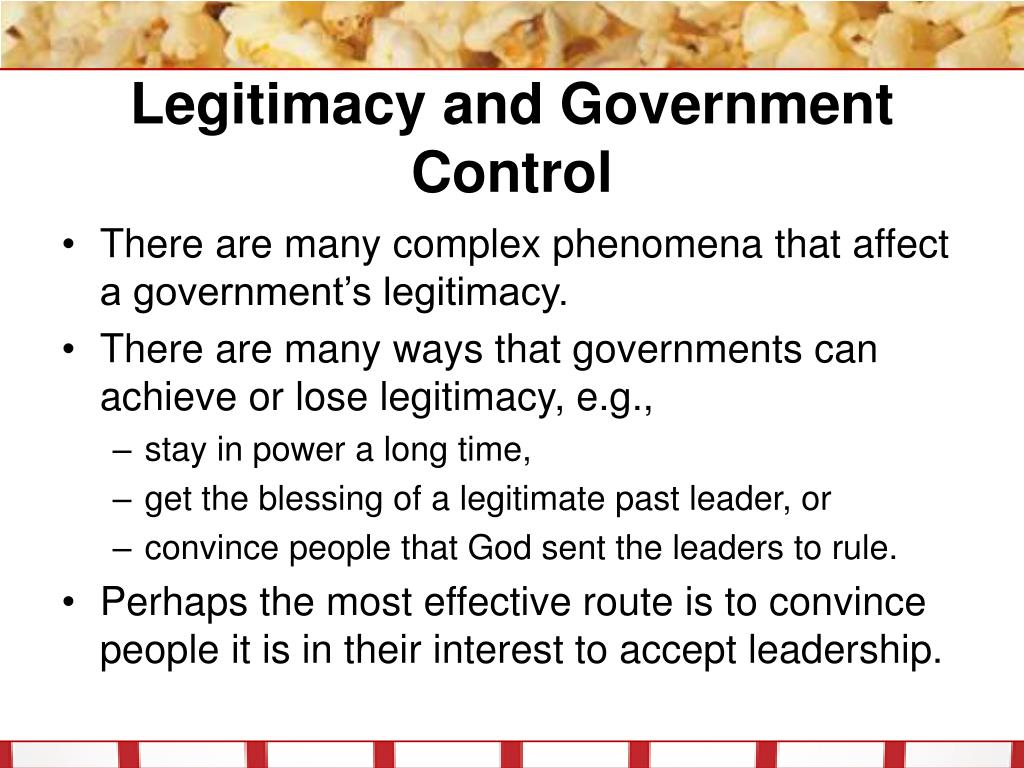 Legitimacy and Government Control