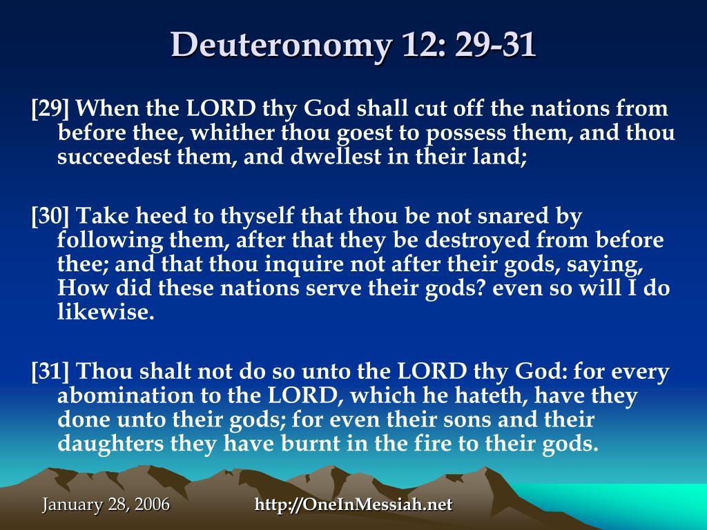 Deuteronomy 12: 29-31