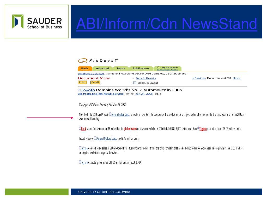 ABI/Inform/Cdn NewsStand