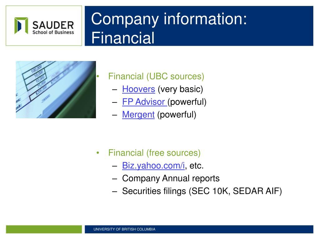 Company information: Financial