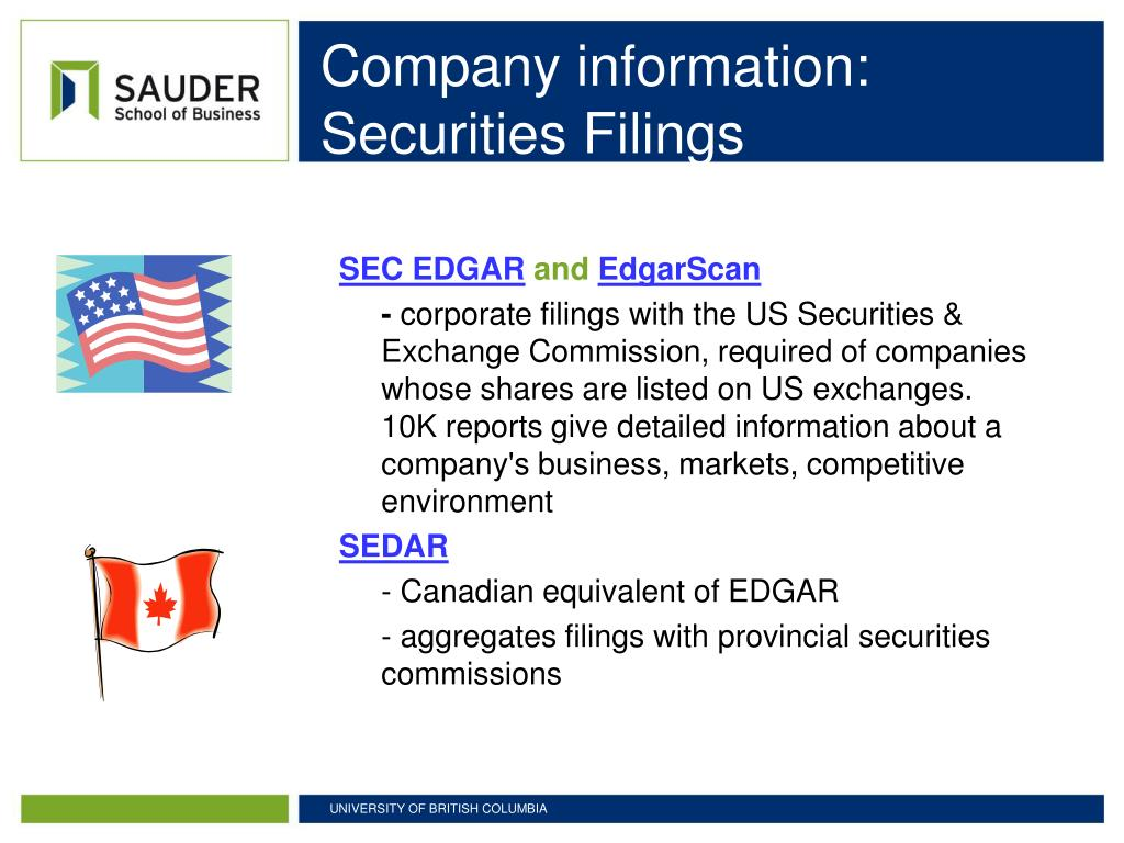 Company information: Securities Filings