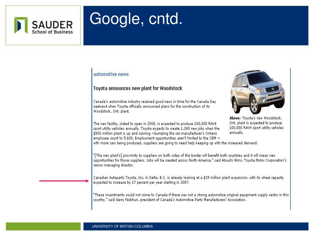 Google, cntd.