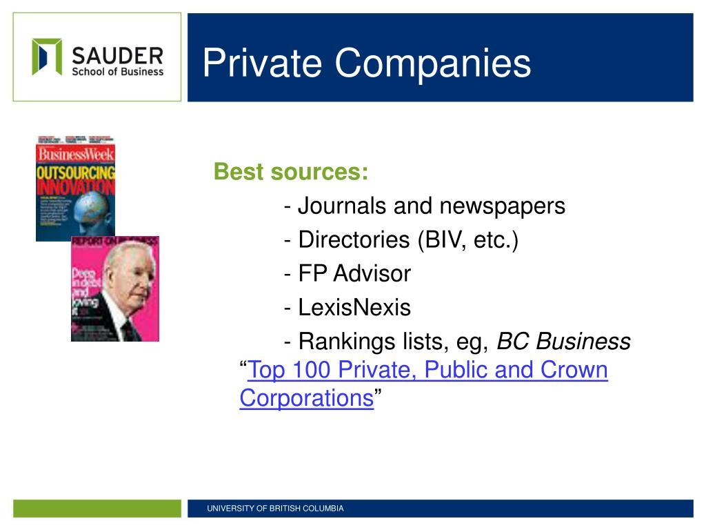 Private Companies