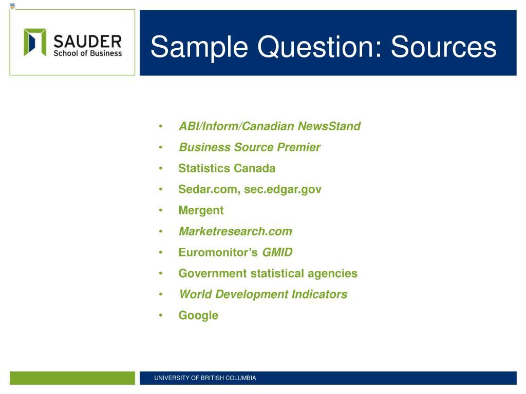 Sample Question: Sources