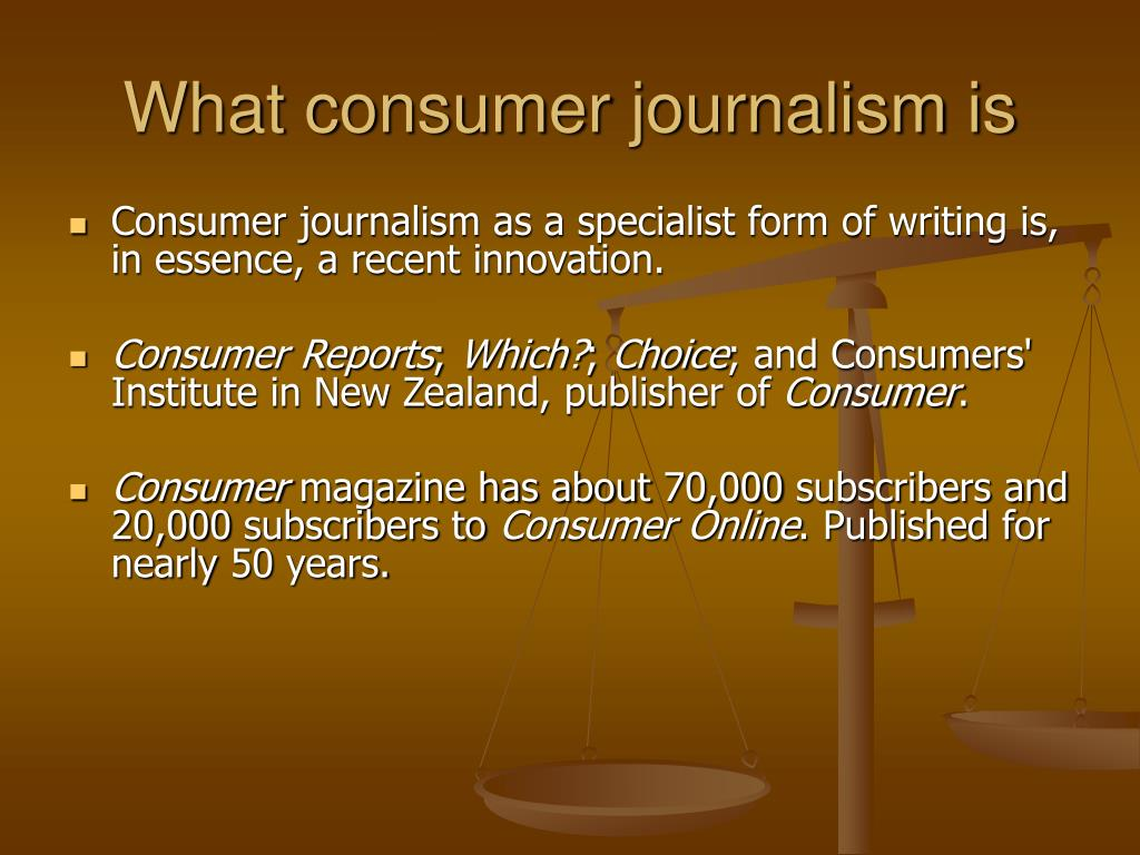 What consumer journalism is