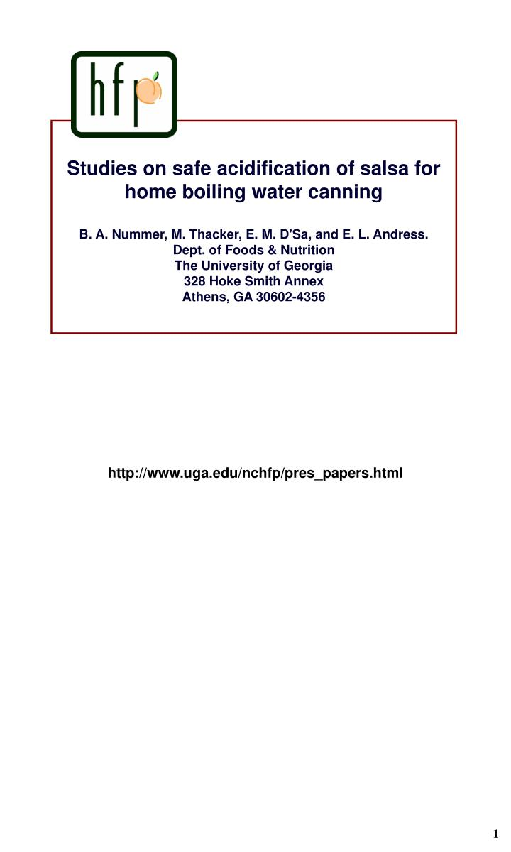 Studies on safe acidification of salsa for home boiling water canning