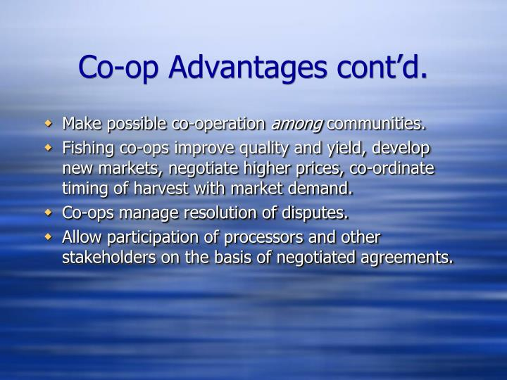Co-op Advantages cont'd.