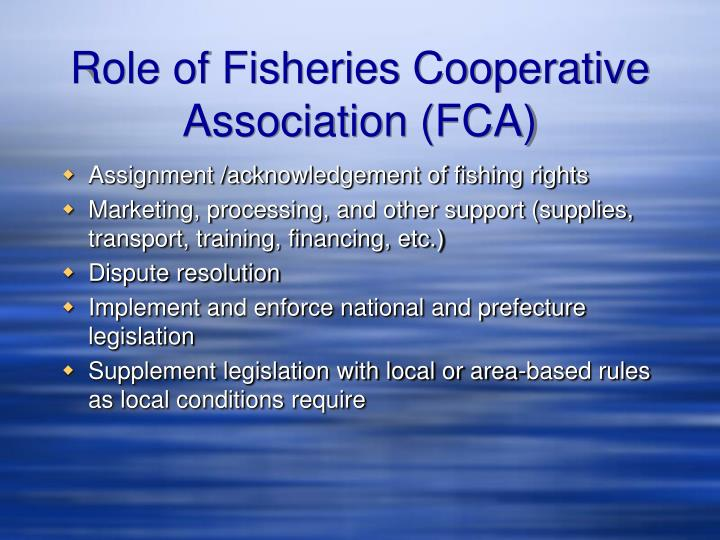 Role of Fisheries Cooperative Association (FCA)