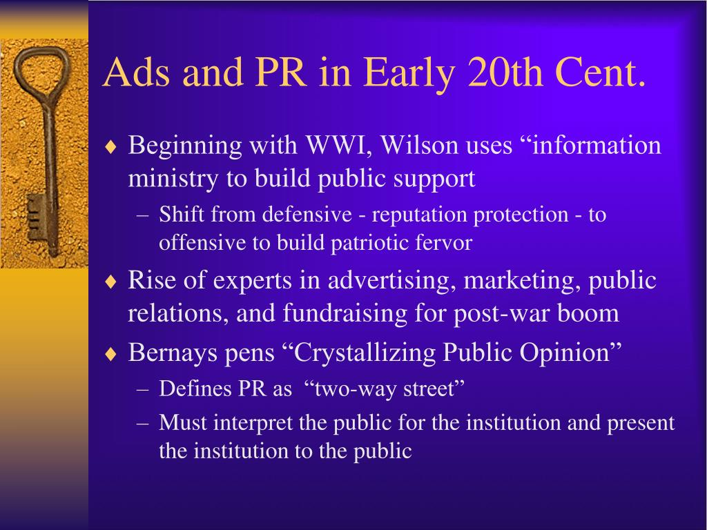 Ads and PR in Early 20th Cent.