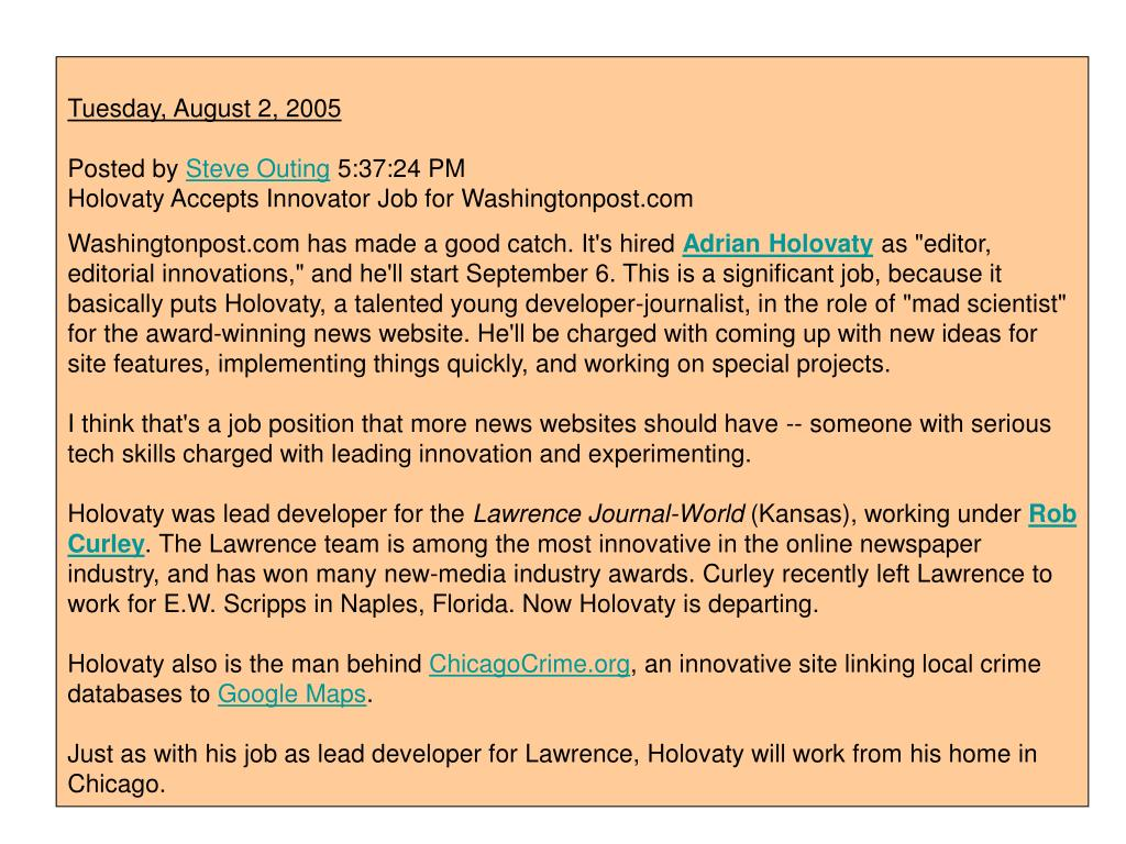 Holovaty Accepts Innovator Job for Washingtonpost.com