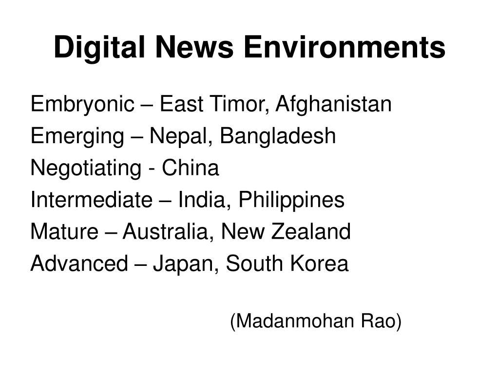 Digital News Environments