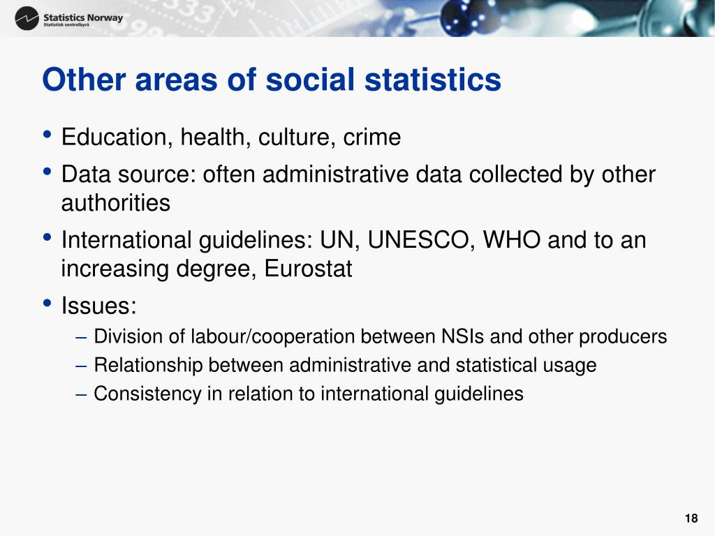 Other areas of social statistics