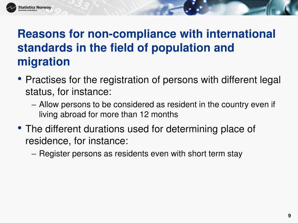 Reasons for non-compliance with international standards in the field of population and migration