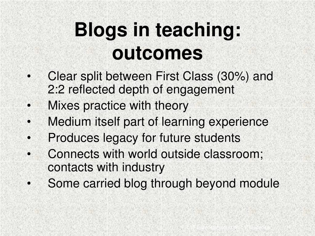 Blogs in teaching: outcomes