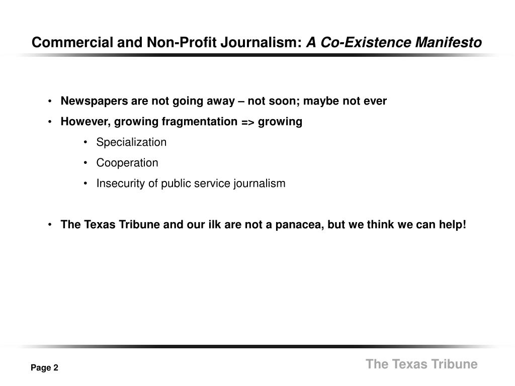 Commercial and Non-Profit Journalism: