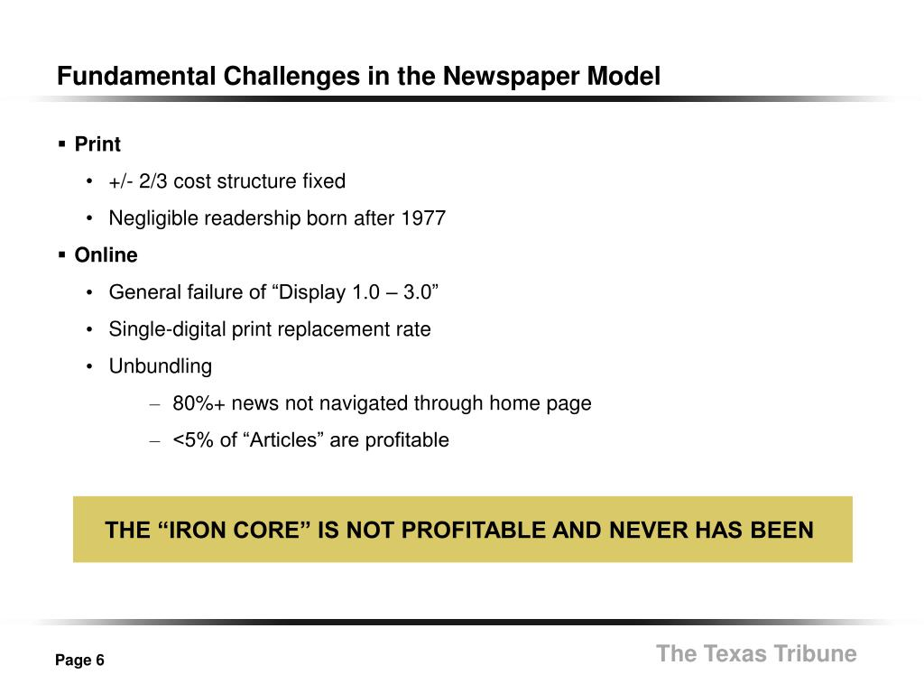 Fundamental Challenges in the Newspaper Model