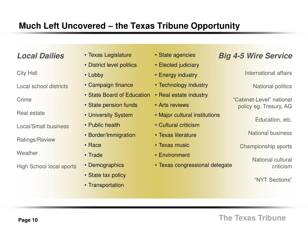 Much Left Uncovered – the Texas Tribune Opportunity