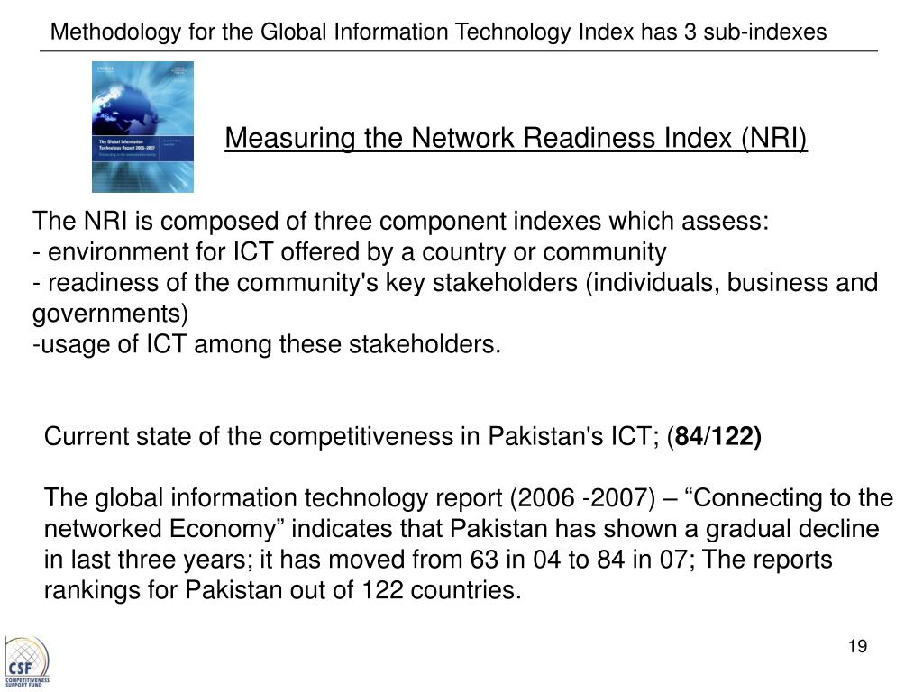 Methodology for the Global Information Technology Index has 3 sub-indexes