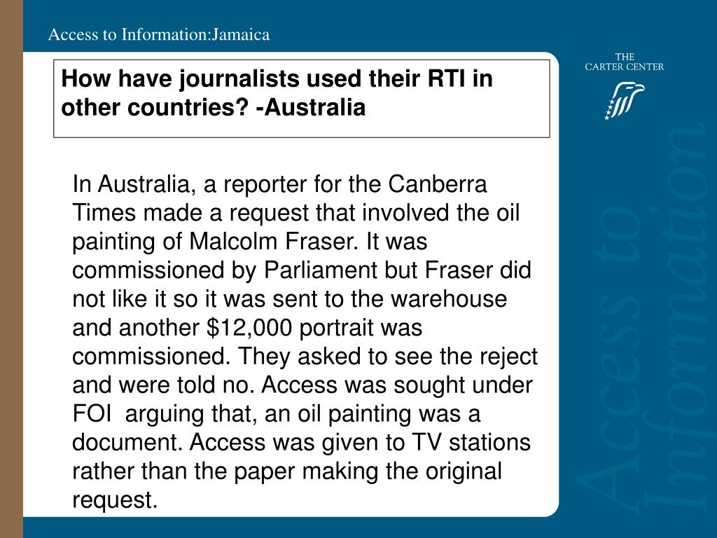 How have journalists used their RTI in other countries? -Australia