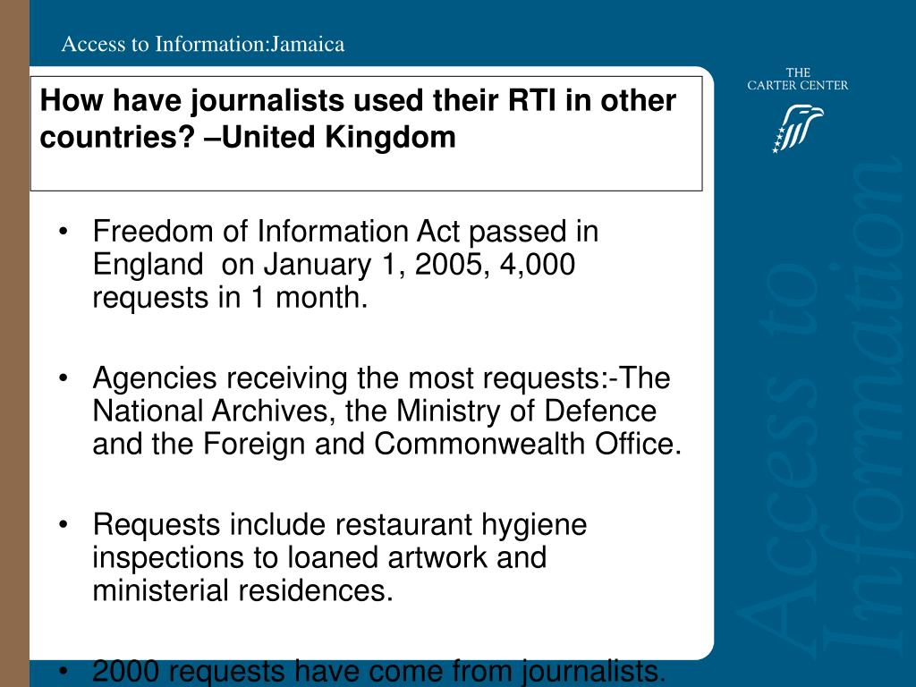 How have journalists used their RTI in other countries? –United Kingdom