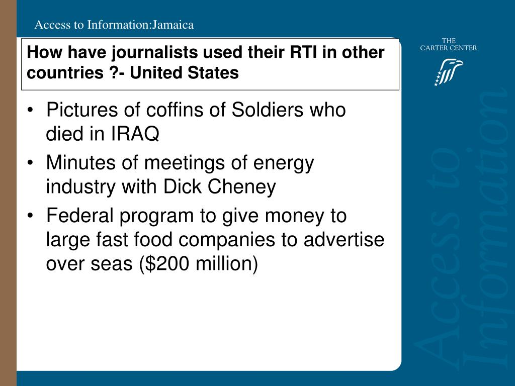 How have journalists used their RTI in other countries ?- United States