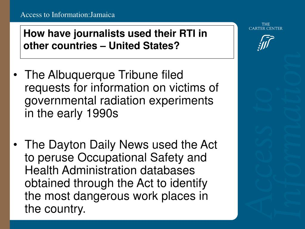 How have journalists used their RTI in other countries – United States?