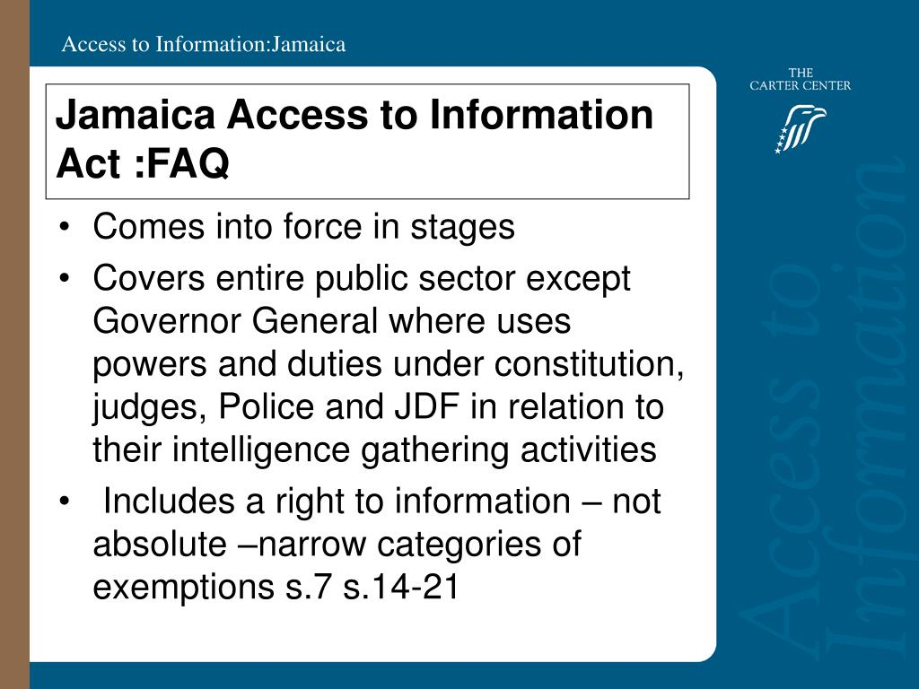 Jamaica Access to Information Act :FAQ