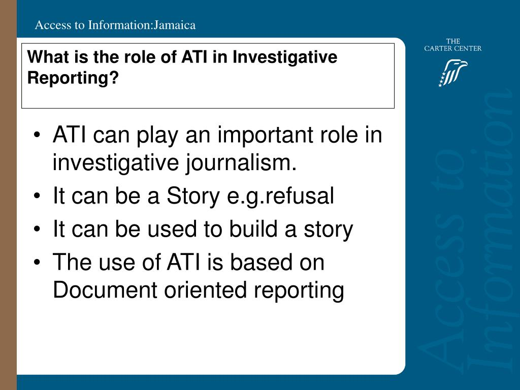 What is the role of ATI in Investigative Reporting?