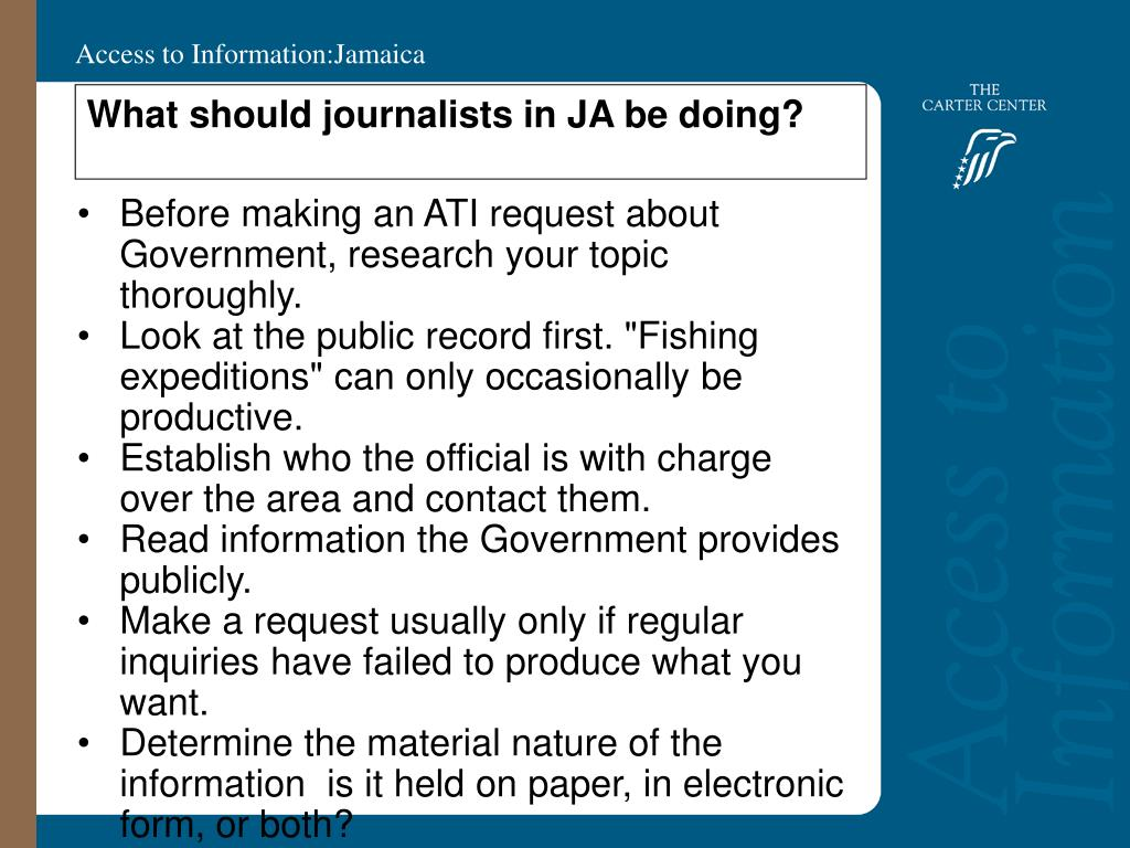 What should journalists in JA be doing?