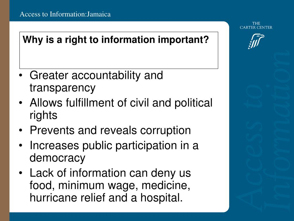 Why is a right to information important?