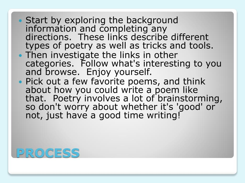 Start by exploring the background information and completing any directions. These links describe different types of poetry as well as tricks and tools.