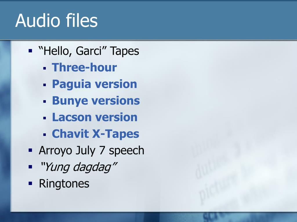 Audio files