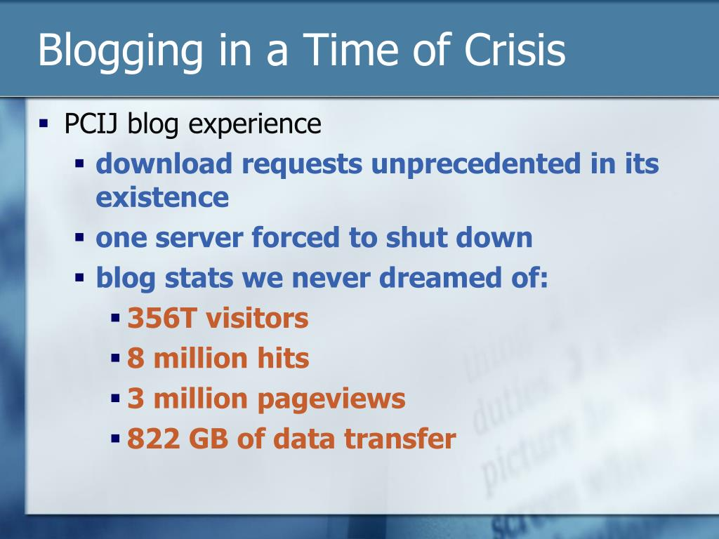 Blogging in a Time of Crisis