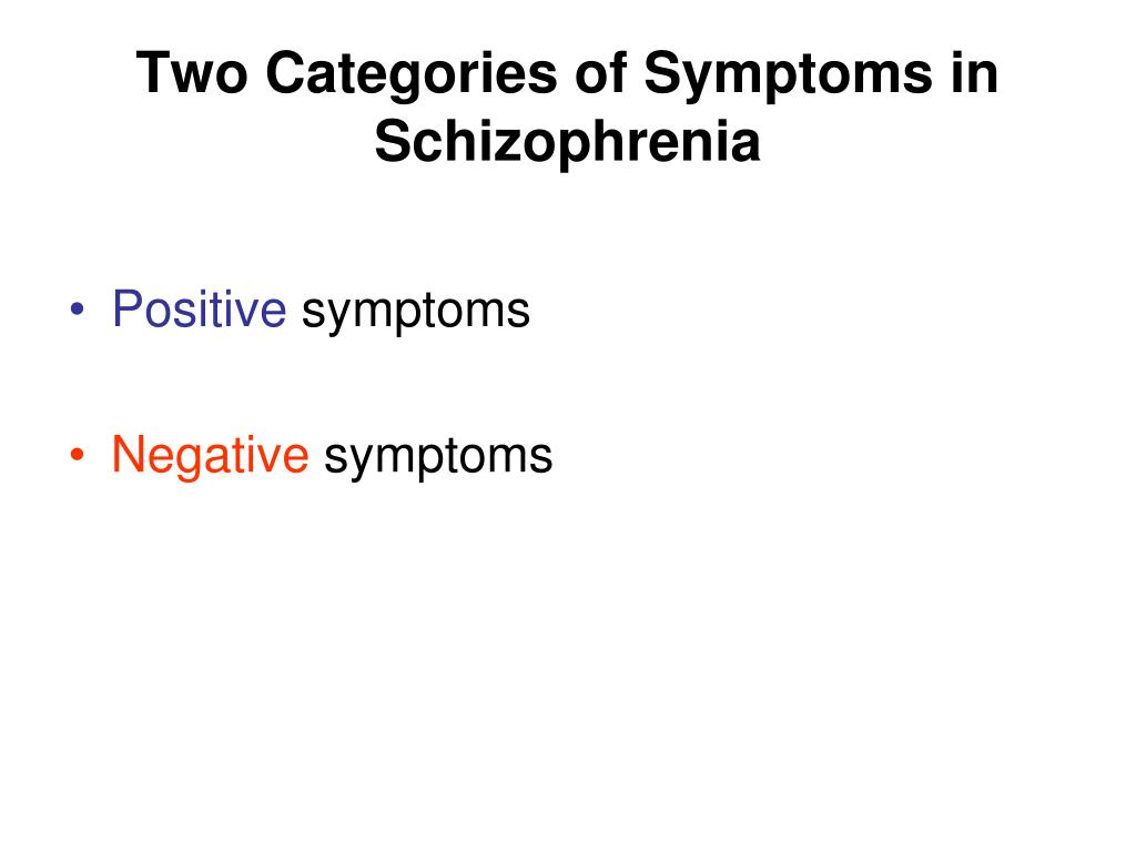 Two Categories of Symptoms in Schizophrenia